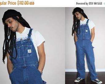 On SALE 35% Off - Carhartt Workwear Work Wear Grunge Bib 1990s Vintage Blue Jean Hip Hop Rap Denim Overalls - 90s VTG Overalls - 90s Pants -