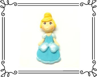 Cold Porcelain Clay Princess Cinderella Figurine, Bow Center, Pendant, Charm, Ornament, Magnet, Brooch, Purse Charm /DIY Necklace, Jewelry