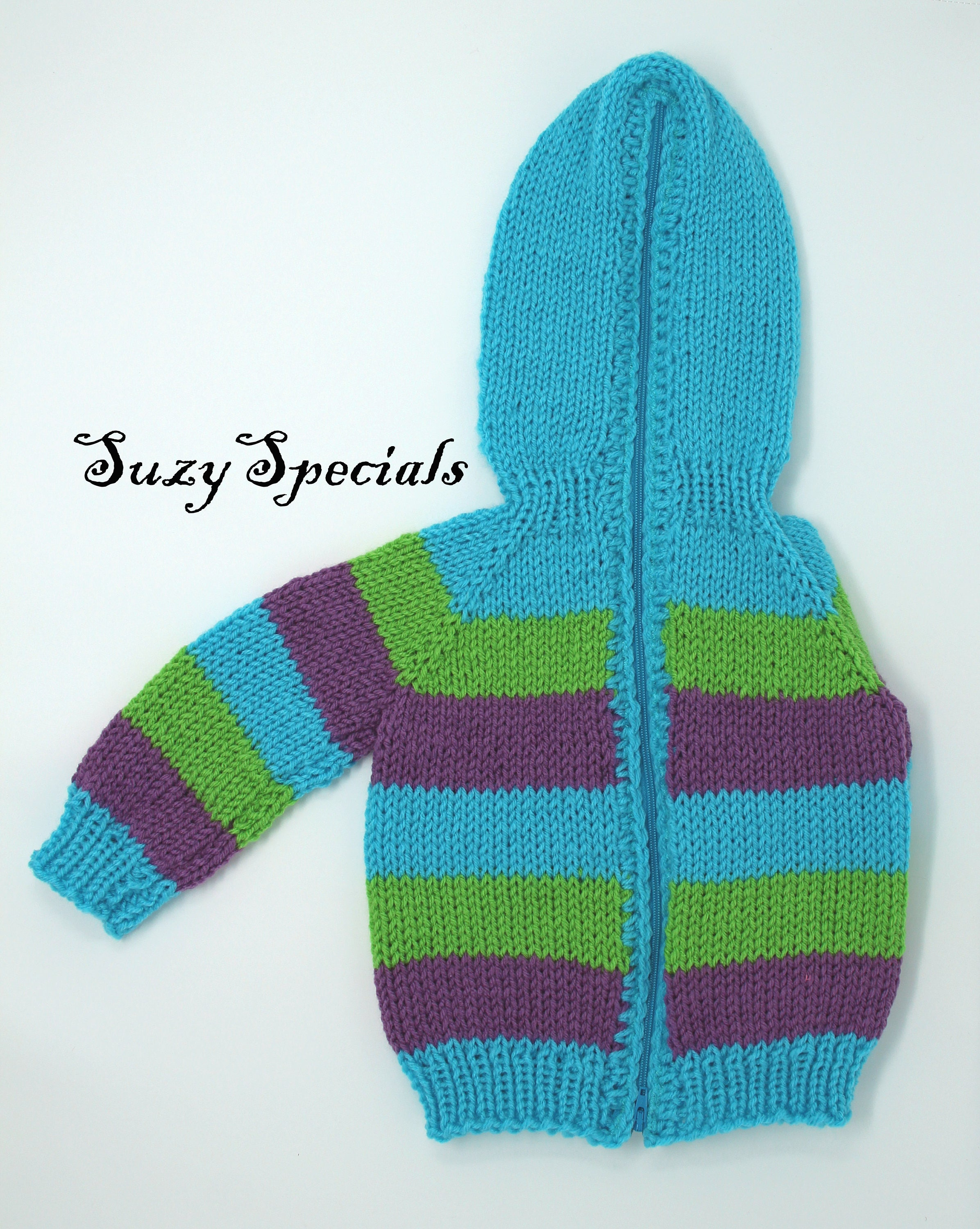 Hand Knitted Baby Sweater with Back Zipper in Blue, Green and ...