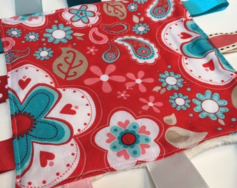 Tagged Sensory Blanket mini size 7 x 7 red flowers
