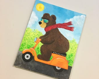 Black Bear on Scooter, 11x14 inch acrylic painting for kids, Funny animal art