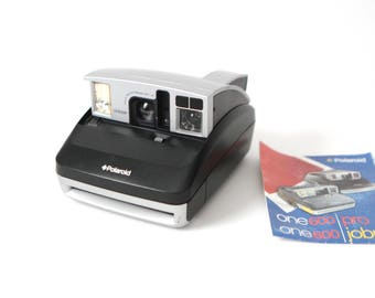 SILVER & black vintage POLAROID camera 1990s tested and in perfect condition case and manual included
