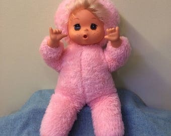 """50% OFF Regal Plush Rubber Face Thumb Sucker Doll 15"""" Adorable Vintage Stuffed Doll Pink Fluffy"""