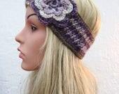 Purple Flower Crochet Headband, Flower Headband, Womans Headband,  Flower Detail Earwarmers Handmade in Ireland by Selkie Crochet