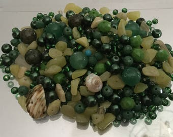 Mix Lot Loose Beads Stone Faceted Glass Acrylic Shell Semiprecious Chips Detached Craft Supply Assorted Bulk Batch Jewelry