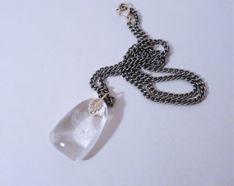 Clear Quartz Crystal Angle Wing Rainbow Worry Stone Pendant with 18 inch Silver Plated Chain