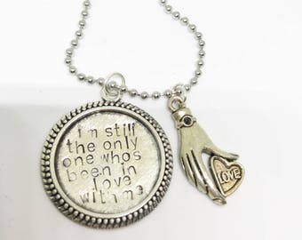 I'm still the only one who's been in love with me - Harry Styles charm handstamped by lyrics Only Angel