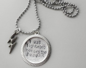 I was lightning before the thunder - Imagine Dragons - Necklace Handstamped with BOLT charm