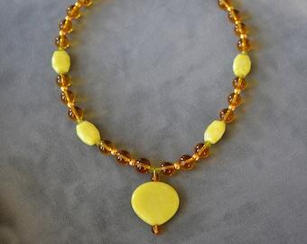 Yellow & Amber Stone Necklace Set