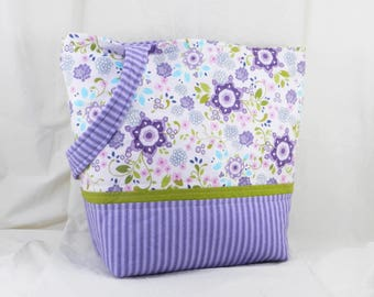 Medium Shoulder Bag, Purple and White, Floral Print , Laugh Love Quilt, Amy Hamberlin, Large Purse, Lunch Bag, Handmade Tote, Ticking Away