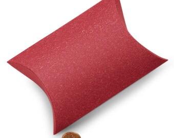 10 Sandy Red Pillow Boxes - 5 1/8 x 5 3/4 x 1 1/2