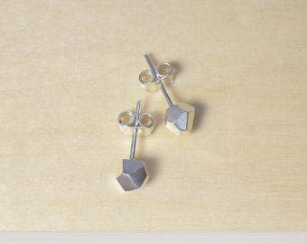 Small faceted silver stud earrings