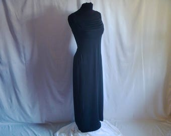 Vintage 90's Strappy Stretch Black Maxi Dress with Pleated Ruching at Bust by All That Jazz® Size Medium