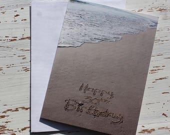 Happy 30th Birthday Beach Writing, Sand Writing, Card, Ocean, Beach, Photo Card,