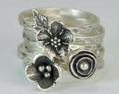 CUSTOM Listing for Tracy....Sterling Flower Rings, Pod Poppy Forget Me Not Rings, Anemone, Metalsmith Jewelry