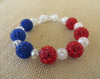 Red White and Blue Rhinestone Studded Stretch Bracelet