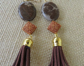 Brown Jasper And Leather Tassel Statement Earrings