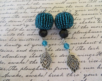 Dangling Earrings With Teal Studded Beads Black And Teal Crystals And Silver Leaves