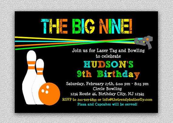 Laser tag bowling invitation laser tag birthday party invitation il570xn filmwisefo