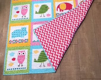 Animal Theme  .. Zoo Theme Baby Quilt