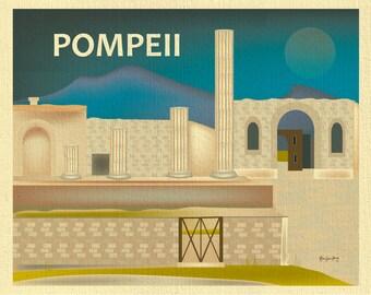 Pompeii skyline, Pompeii Print, Pompeii art, Pompeii Italy art, Pompeii Canvas, Pompeii Poster, Pompeii Ruins, Naples Italy, style E8-O-POM