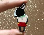 Mini Shy Bunny Handmade Laser Cut Perspex Brooch - Mini Dutch Shy Bunny Boy Red, Pink and Green