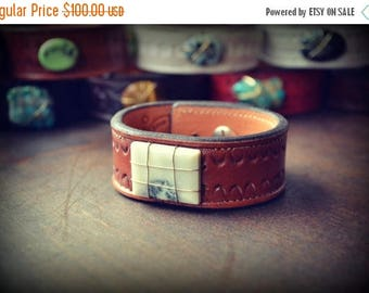 XMAS IN JULY Leather Cuff /// White Jasper Leather Cuff