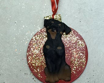Rottweiler 3D Dog Christmas Ornament Gift Holiday Cute Glam