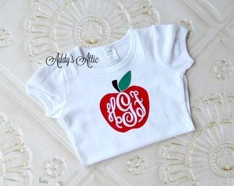 Back to School Shirt, Apple Monogram Shirt, Toddler Girls Shirt, Personalized Shirt, Monogram Shirt