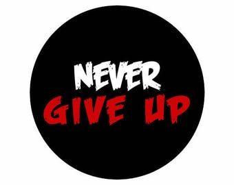 "PIN BUTTON ""never give up"""