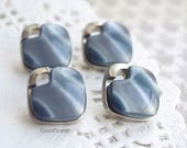 Grey Silver Glossy square Buttons x4 1.5 cm - man vest  Sweater Jacket - retro shank button - BOUTV16
