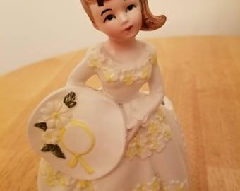 Vintage Lefton Ceramic Lady Planter