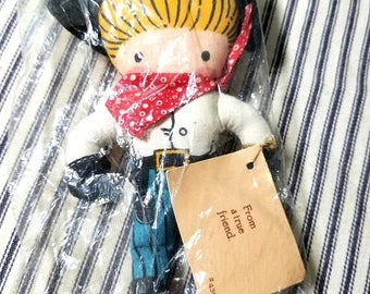 Yearly Big Sale: Vintage Joan Anglund Pocket Doll, Cowboy Stuffed Toy, New In Package 1959 J W Anglund