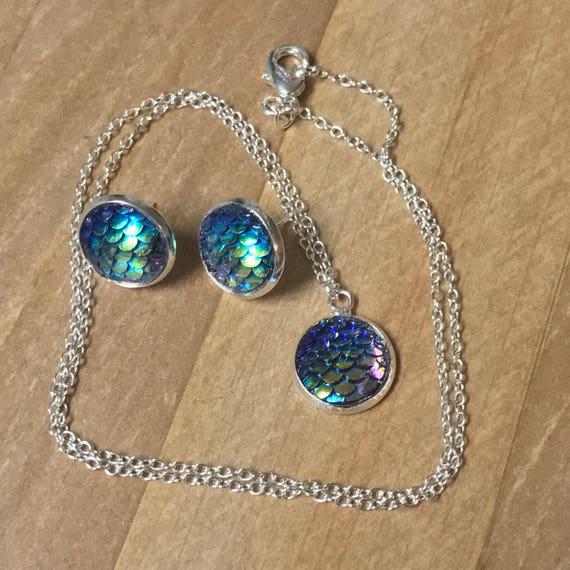 Mermaid Jewelry Set Mermaid Earrings-Mermaid Necklace-Silver