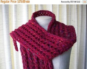 SALE HAND Knit Chunky Rib Textured Scarf in 100% IRISH Roving Wool
