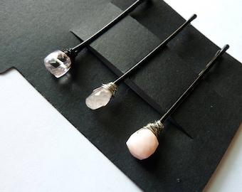 Pink Gemstone Trio Bobby Pin Pack  - Pale pink Amethyst, Morganite, Pink Opal
