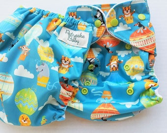 One Size, cloth diaper cover, fleece lined PUL with AI2 option, hot air balloon safari animals