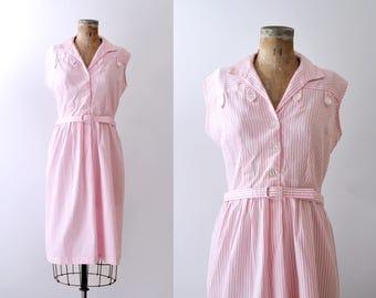 1960's pink striped dress. xxl. 60 collared dress. Pink & white. sleeveless.