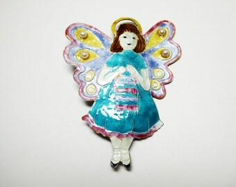 Sterling & Enamel Angel Brooch - Knitting Girl Angel Pin Gift for the Knitter - Glass Enamel Sterling Silver - Old Store Stock Vintage 1980s