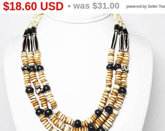 Summer Sizzler Sale BOHO Tribal Bone Beaded Necklace - Triple Strand with Silver tone spacers and Black Beads - Black and White Tube Bead...