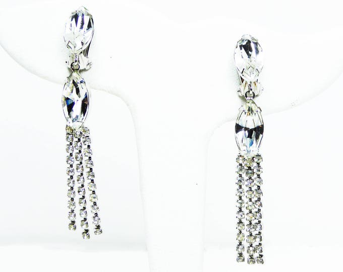 Dangling Rhinestone Earrings - Pierced Earrings - Clear Marquis & Chaton Rhinestones - Vintage 1990s Brides Something Old Wedding Jewelry