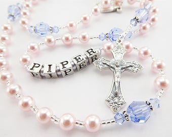 Personalized Rosary in Pink and Purple Swarovski Crystal Girl Rosary - Baptism, First Communion, First Communion, Quinceanera Gift