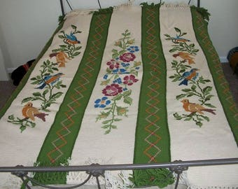 Vintage Amazing and Beautiful Crocheted Bird Tapestry Fringed Afghan Roses Flowers Cross Stitch