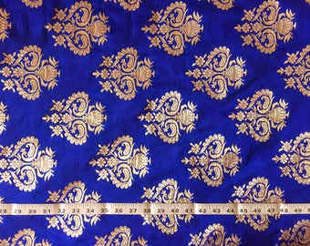 brocade by the yard, indian fabric, silk brocade, banaras silk, sari blouse fabric, indian wedding fabric, gold brocade - 1 yard - br154