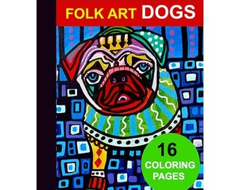 70% Off Today- 16 Folk Art Dogs Digital coloring book pages, adult coloring book, coloring pages, printable coloring pages by Heather Galler