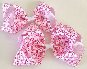Red and Pink Valentine Heart Hair Bow