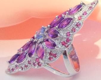 Awesome Amethyst, Kyanite, Rhodolite Garnet Ring, Edwardian Style, Vintage Sterling Silver, Vintage Filigree Ring, Natural Gemstones