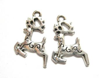 75% OFF - 20pcs Silver Reindeer Charms - Christmas Charms - Reindeer Beads - Antique Silver Deer Charms - DIY Christmas Supply Gift  E50