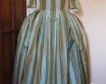 Stripe Silk Taffeta Colonial Gown sz 16