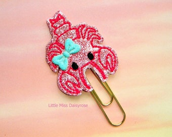 Lobster Cutie Glitter Planner Clip Paperclip in pink